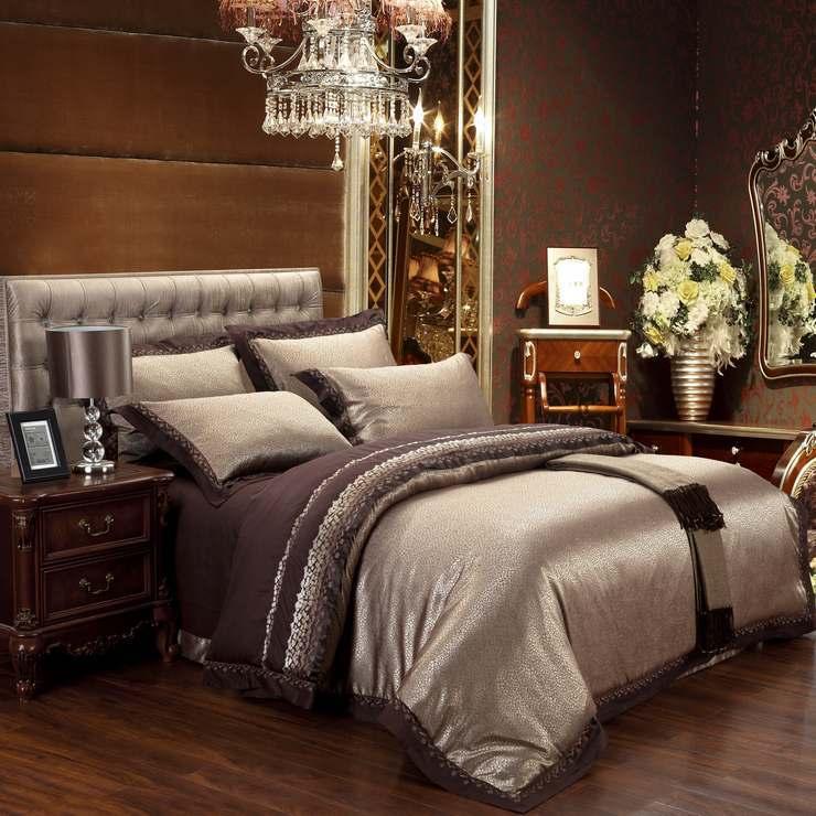 6pcs Jacquard 100 Damask Luxury Silk Bedding Set King