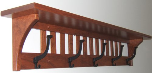 Buy Mission Coat Rack Shelf Solid Cherry Wood Wall Mounted 40 Hook Stunning Wooden Wall Mounted Coat Rack With Shelf