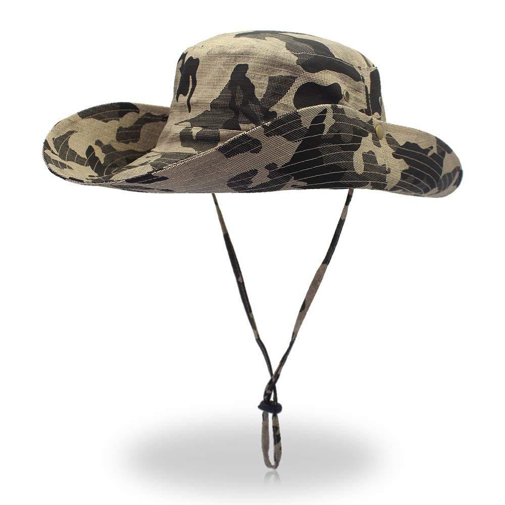 4d7da3957d0476 Get Quotations · FayTop Summer Outdoor Sun Bucket Hats Camouflage Boonie Hat  Adjustable Wide Brim UV 50+ Sun