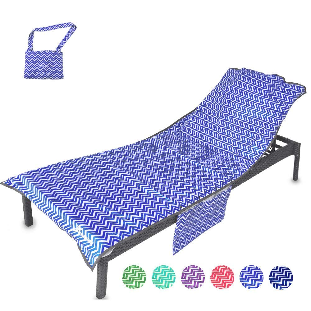 c756196f65a4 Get Quotations · YOULERBU Beach Chair Cover with Pillow Soft Mesh Fabric  Thickened Pool Lounge Chair Towel Beach Towel
