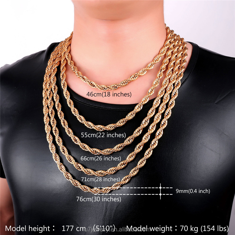 new brand yellow ebay rope chain chains size gold twisted twist necklace bhp link