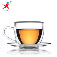 heat resistant glass double wall tea/coffee cup set