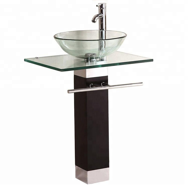Stainless Steel Furniture Color Bowl Wash Basin Vanity Berber Pedestal Lavabo Tempered Bathroom Glass Sink