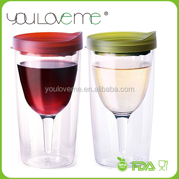 BPA Free Portable Wine Glass, 10oz Double Wall Insulated plastic Wine Glass Tumbler, double wall wine sippy cup