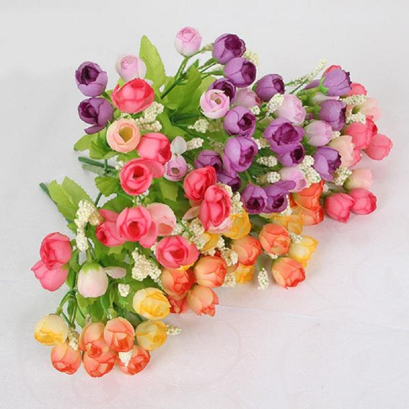New <font><b>Elegant</b></font> Charming Beautiful Artificial Silk Roses Flowers Bouquet <font><b>Home</b></font> <font><b>Decor</b></font> 15 Heads <font><b>Home</b></font> <font><b>Decor</b></font>