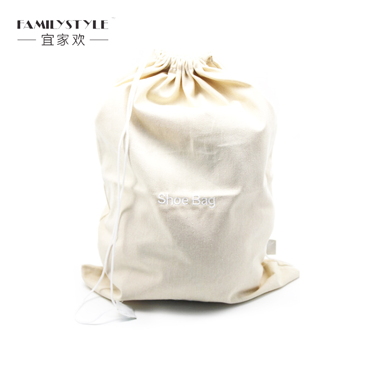 Wholesale double string canvas shoe bag