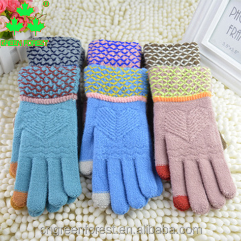 Fashion colorful acrylic outdoor sport touch screen telefingers knitted gloves