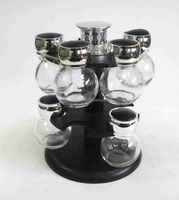 SET OF 12 CLEAR GLASS SPICE JAR WITH METAL LID AND PLASTIC HANDLE