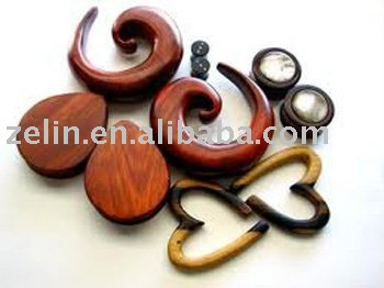 seldom unique varioud kinds of wood body piercing ear jewelry