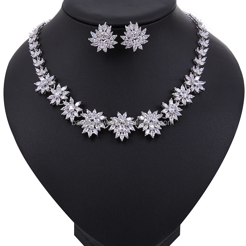 High Quality Sun Flower Shape Hang Marquise Cut Montana Color Cubic Zirconia Diamond Women Crytal Jewelry Set