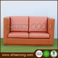 Custom made modern style 2 seat orange home cinema leather sofa