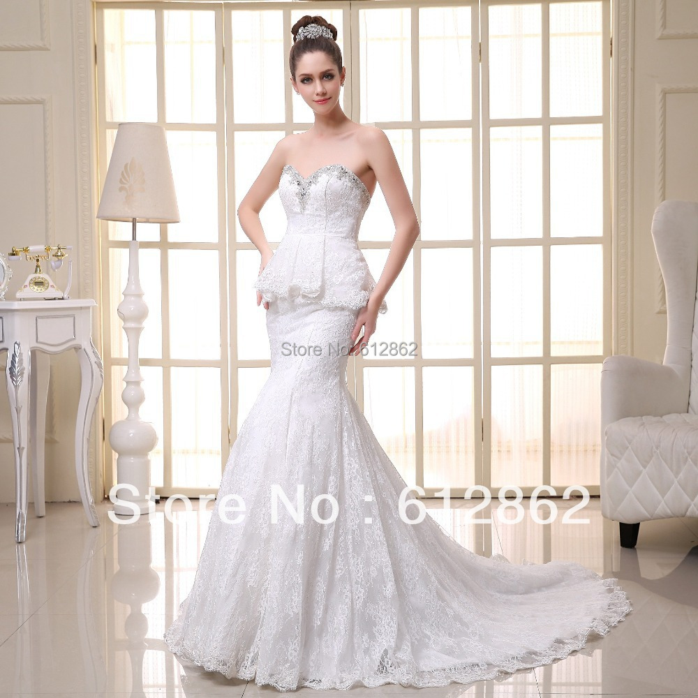 Simple Elegant Country Style Wedding Dresses With Lace: Simple But Elegant Mermaid Beaded Neckline Long Train