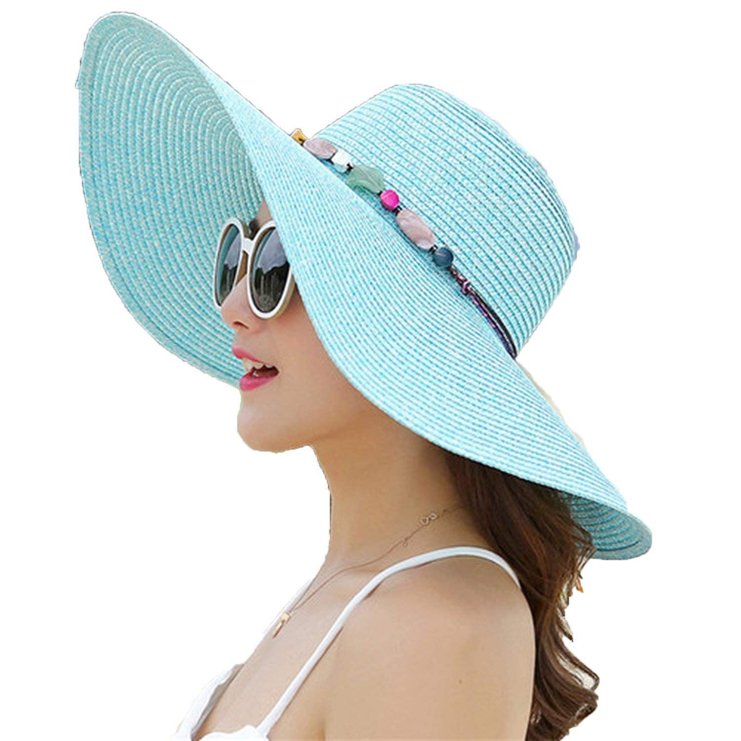 37ce9199b24 Romantic moments Women s Beach Sun Hats 2018 hot Big Brim Foldable Colorful  Stone Hand Made Straw Casual Shade Sun Hat
