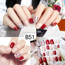 Red nail art tips design colorful fake nails artificial finger nails