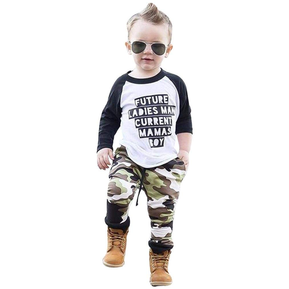 448d5daae400 Get Quotations · Hatop Newborn Infant Baby Girls Long Sleeves Letter T-Shirt  Tops+Camouflage Pants Outfits