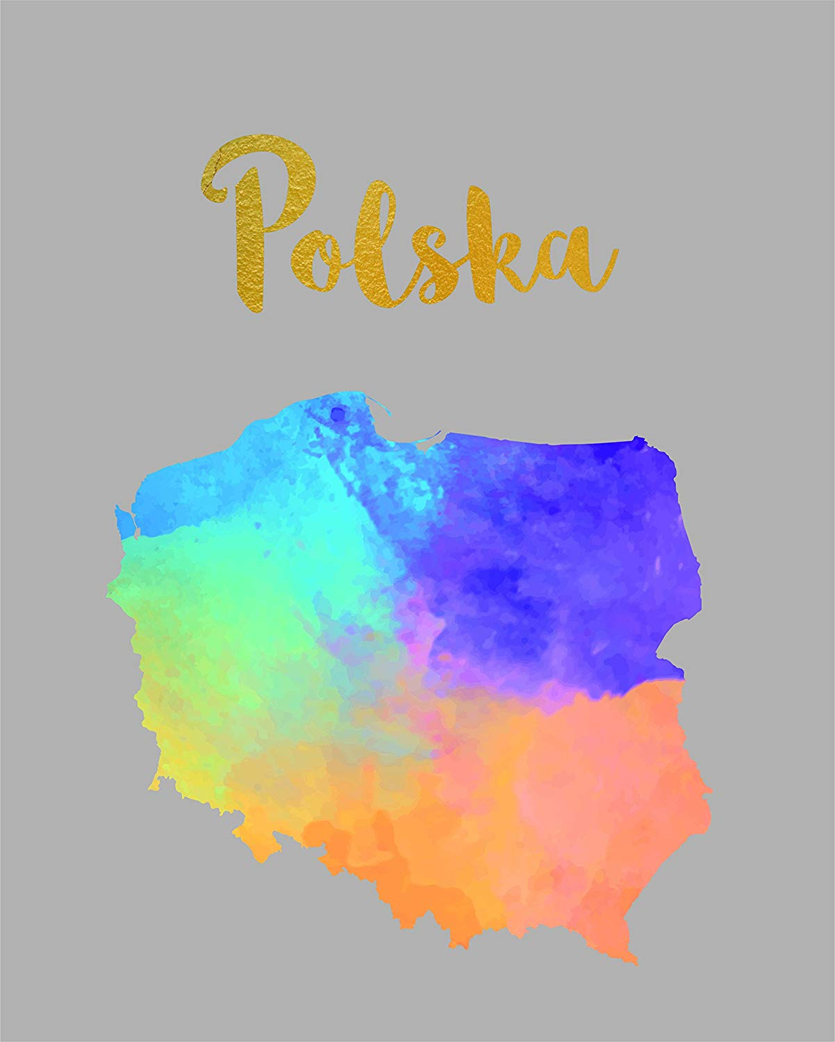 6a86b71a4 Get Quotations · Poland Map Watercolor Polish POSTER A3 Print Polska Home  Decor Products House Decorations Decal UNFRAMED Gifts