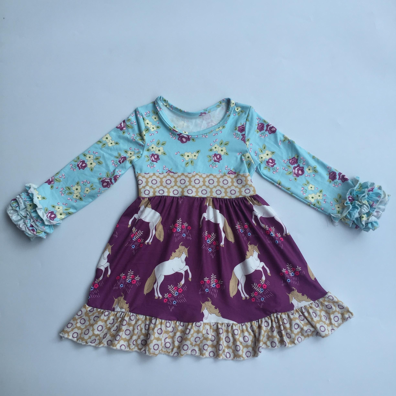 0156c33f8 New arrival smocked children clothing wholesale kids clothes girl dress  2019 horse unicorn ruffle spring dress