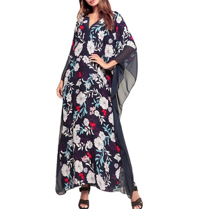 Floral Pattern Ladies Daily Wear Chiffon Long Dresses With Half Sleeve