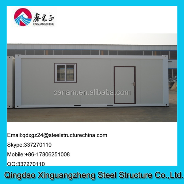 20ft flat pack sandwich panel frame and flat roof container house
