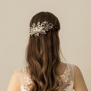 Korean Style Ivory White Flowers Chains Bridal Hair Comb beaded stretch hair combs decorative personalized hair comb
