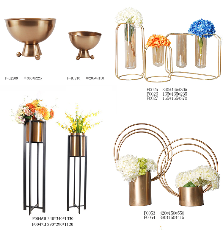 Modern luxury home accessories metal flower vase