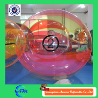 Pink half color rolling ball water dia 1.2m/ 2m / 3m / 10m water zorb ball for sale