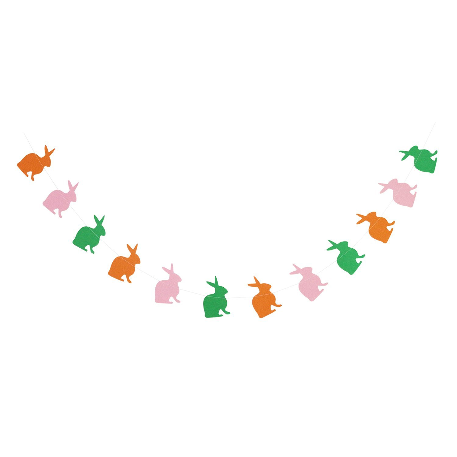 Colorful Bunny Garland Bunting | Colorful Rabbit Garland Banner | Easter Garland Banner | Happy Easter Spring Decorations | Easter Party Supplies | Home Mantel Decor | 7.5Ft long