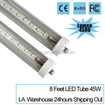 8 foot t8 led tube with CE, RoHS, FCC, 45w 110-240V 4500lm LA warehouse 24 hours shipping out