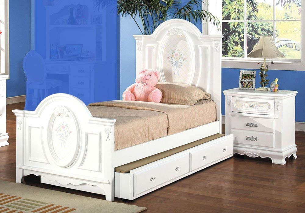 Buy 1PerfectChoice Flora Youth Girl Twin Bed Nightstand ...