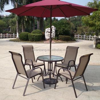 Light Weight Outdoor Garden Balcony Aluminum Sling Patio Furniture 3,5 Pcs  Glass Table Stackable