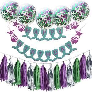 Mermaid theme party supplies happy birthday banner confetti balloons paper tassels for birthday party decorations