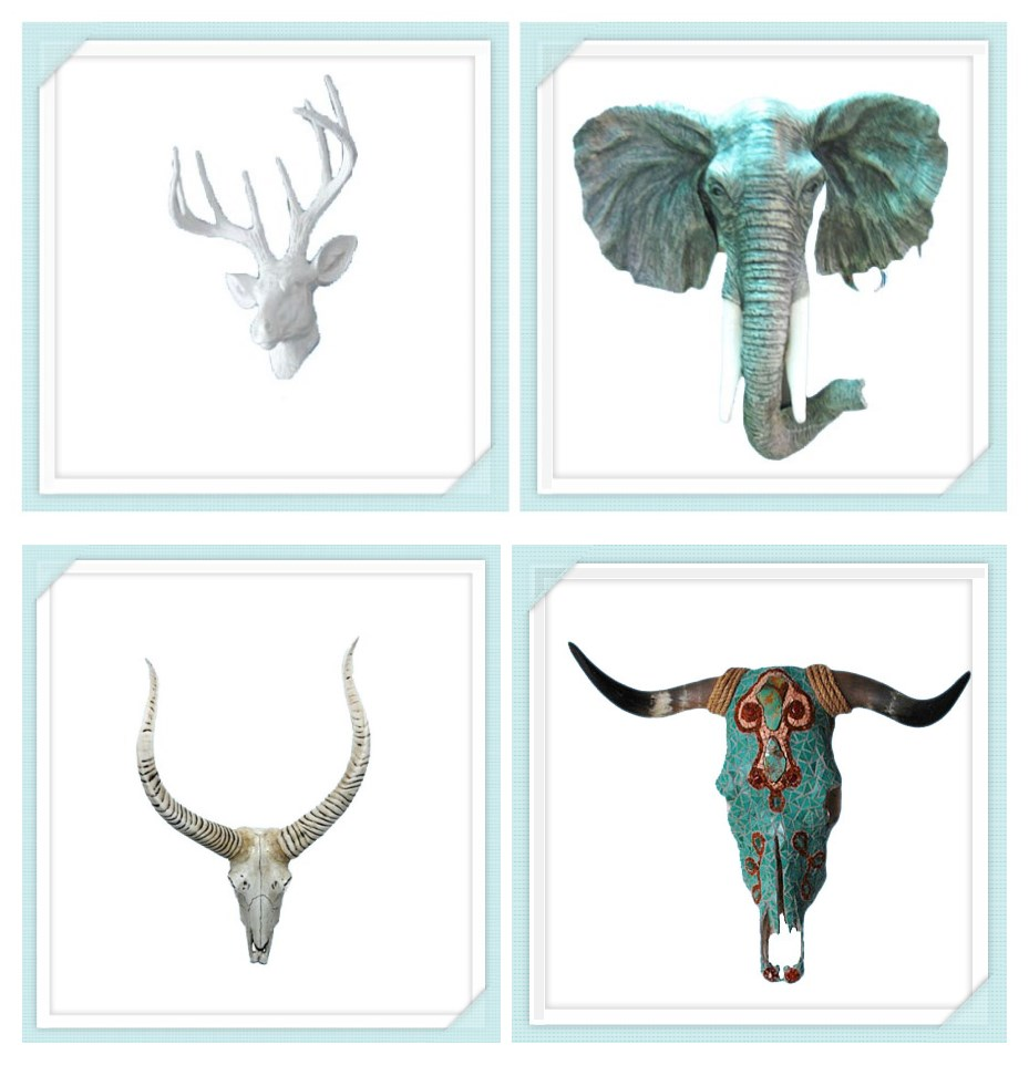 Buffalo resin wall animal head sculpture