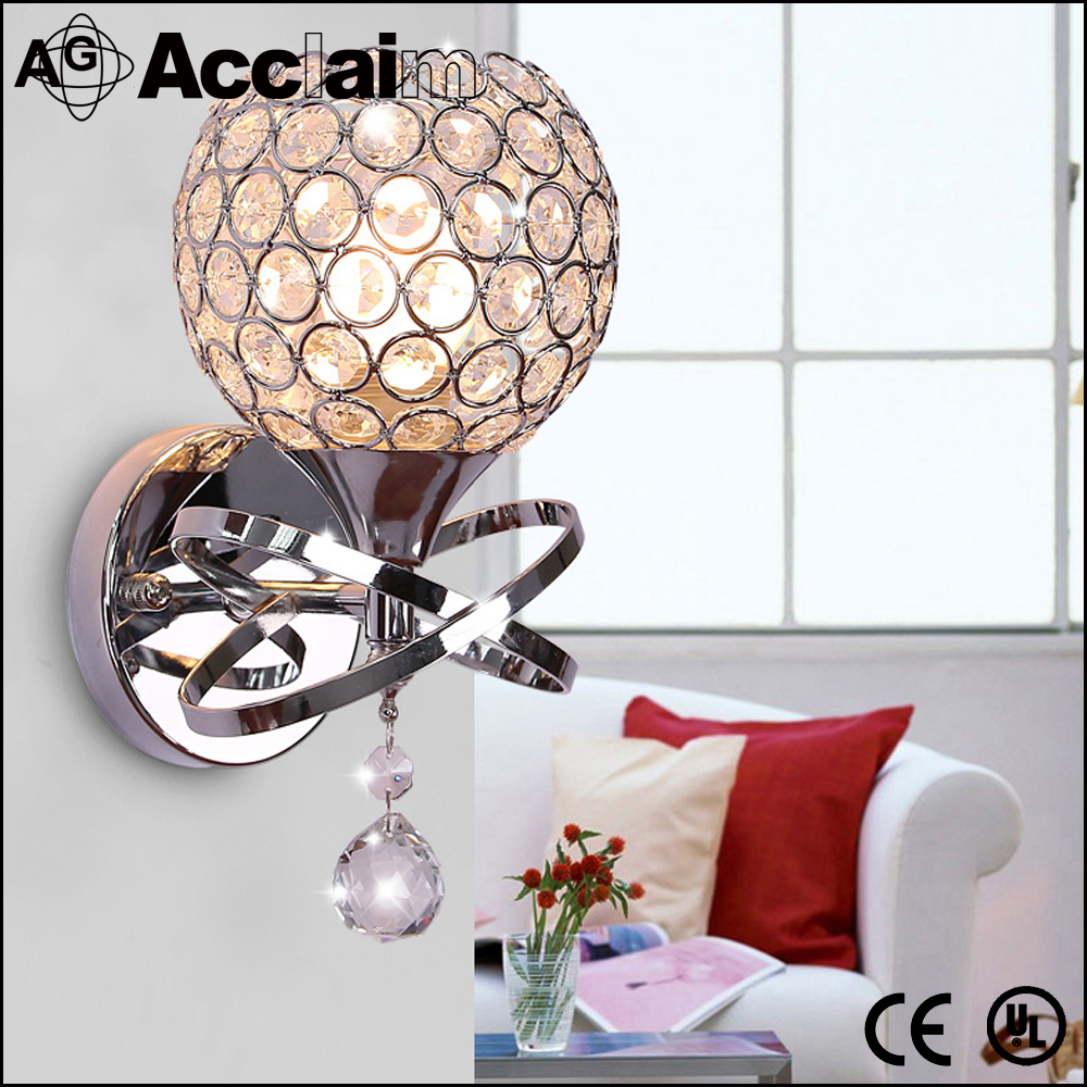 wholesale CE UL modern golden/silver crystal wall lamp with LED bulb
