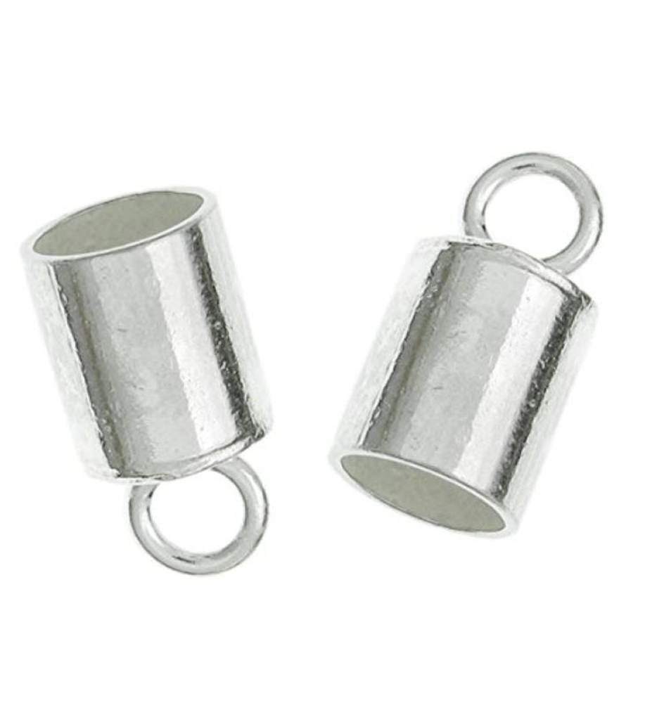 10pcs x Sterling Silver End Caps Barrel for 1.5mm to 2mm Leather Cord | 11mm Cord Ends Endcap #SS259