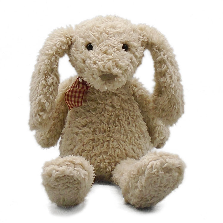 10 inch ivory color stuffed bunny plush <strong>rabbit</strong> with bowtie