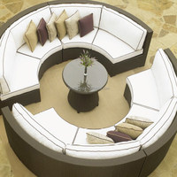 Modern Outdoor Resin Rattan Wicker Circular Daybed Coffee table Sectional sofa Set