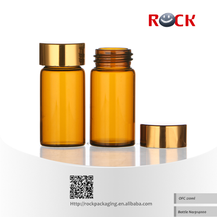 Factory sale CE/ISO chemical 20ml amber glass bottle