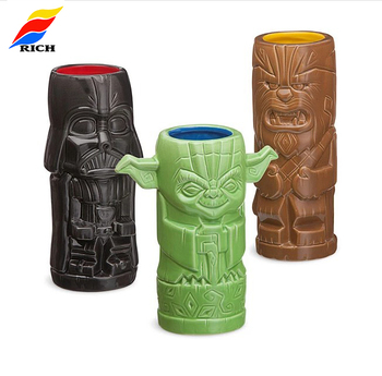 Personalized decorative ceramic tiki mug