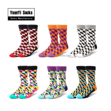 Men Cotton Argyle Design Colorful Happy Socks,Custom Happy Socks
