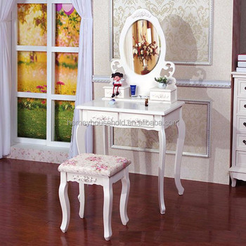 Cosmetic Storage Drawer Table Makeup Mirrored Bed Side Dressing