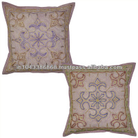 Indian Cotton Embroidered Square Sofa Cushion Cover Vintage Handmade Pillowcase Wholesale