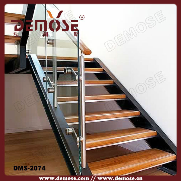 Fold Up Stairs/modern Wood Stairs/tempered Glass Stairs