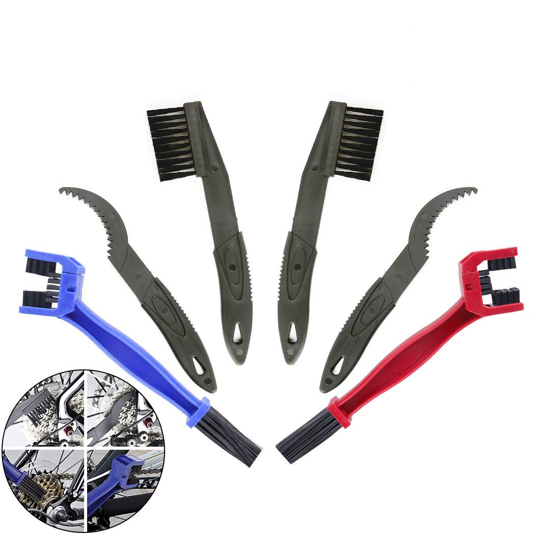 Creatiee 6Pcs Bike Bicycle Clean Brush Kit/Cleaning Tools, Chain Gear Cleaner Gears Cleaner Set Maintenance Cleaner Tools Accessories for Bike Chain Sprocket Cycling Corner Stain Dirt Clean