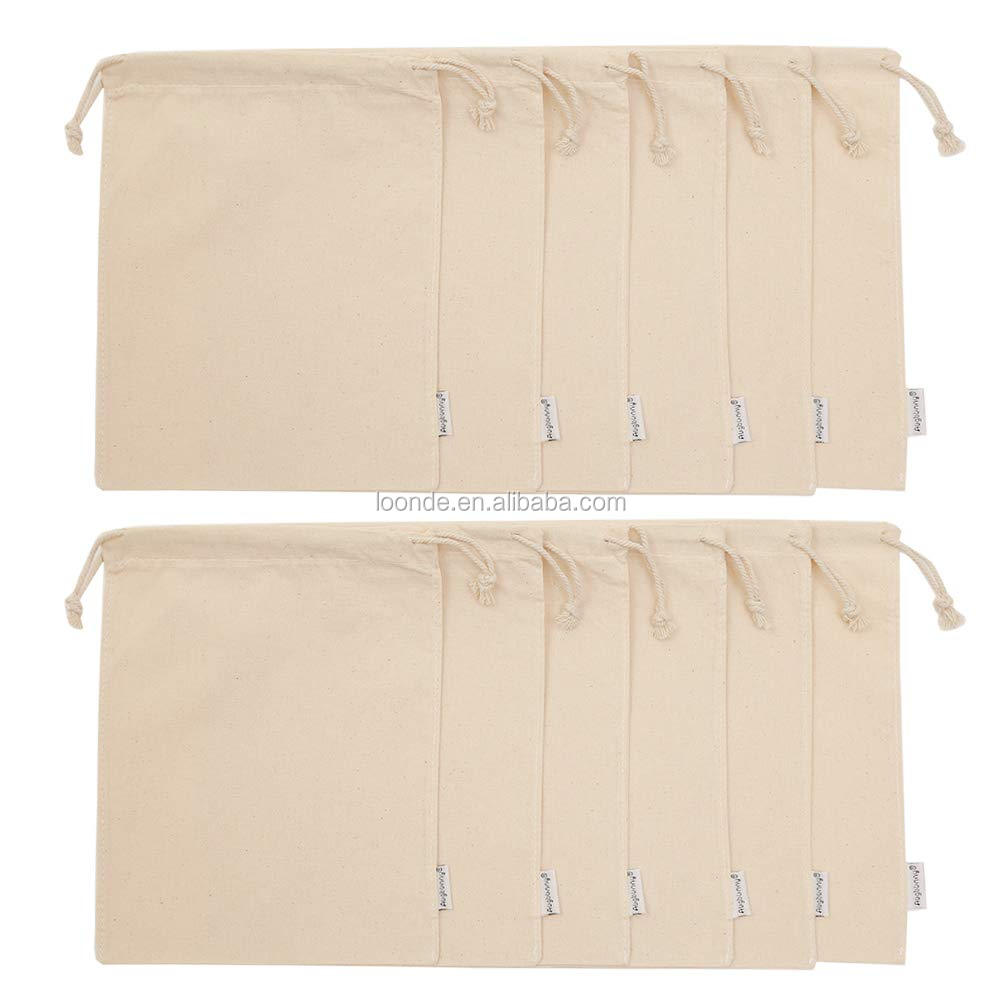 100% Cotton 8x10Inch Muslin Bags with Drawstring