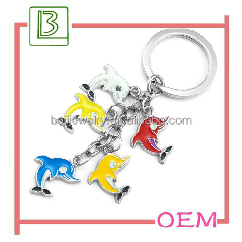 Lovely Dolphin Sea Animals Zamac Key Chain for Ocean Park