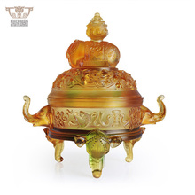 Colored Glass Zen Life Auspicious Elephant Incense Burner