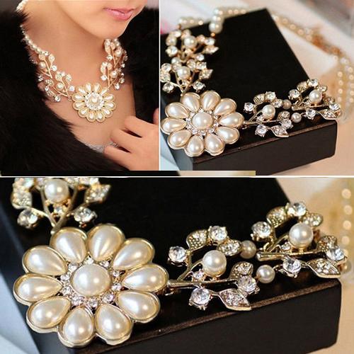 Мода роскошных женщин имитация жемчуга жемчужина цветок ставка колье ожерелье для свадьбы ну вечеринку коктеила Kbi641