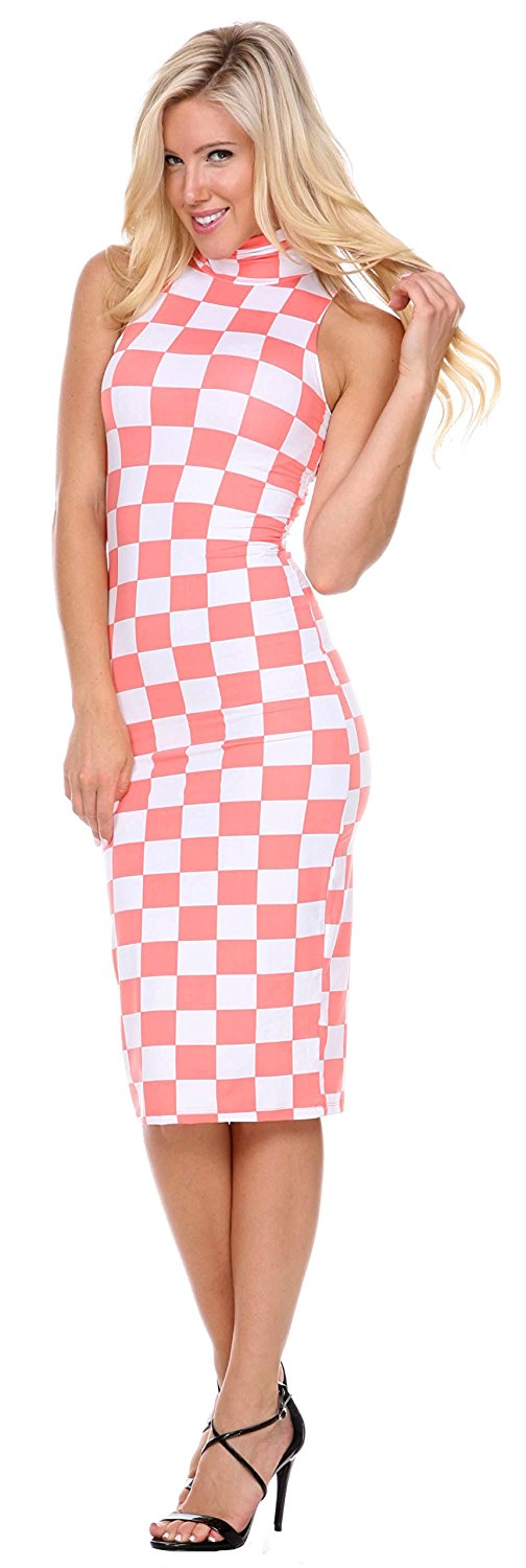 Stanzino High Neck Tight Checked Dress, Check Dresses in Coral & Mint Green