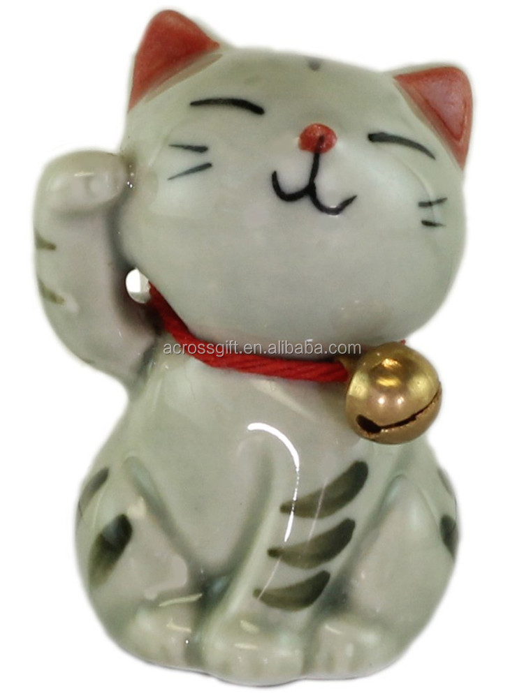 Personalized Handmade Color Glazed Decorative Ceramic Hand Painted Lucky Cat with a Bell