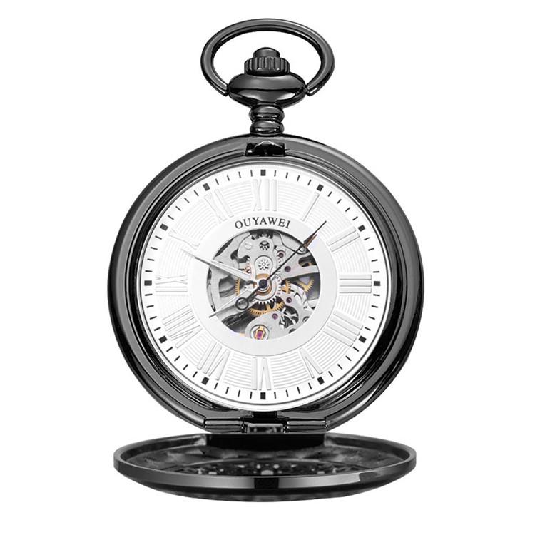 8312f9855 Pocket Black Skeleton Mechanical Watch Men Vintage Pendant Watch Necklace  Chain Antique Pocket Watches